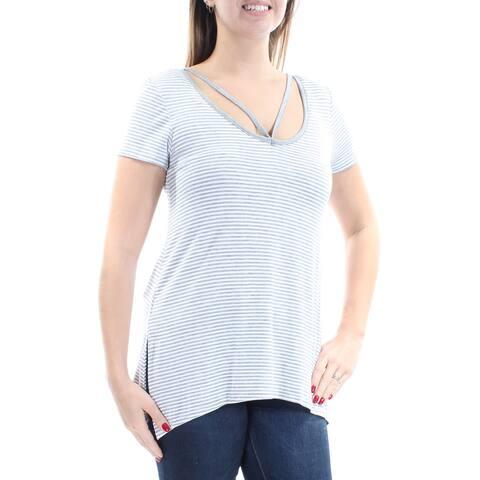 ULTRA FLIRT Womens Gray Pinstripe Short Sleeve Scoop Neck Trapeze Top Size: L
