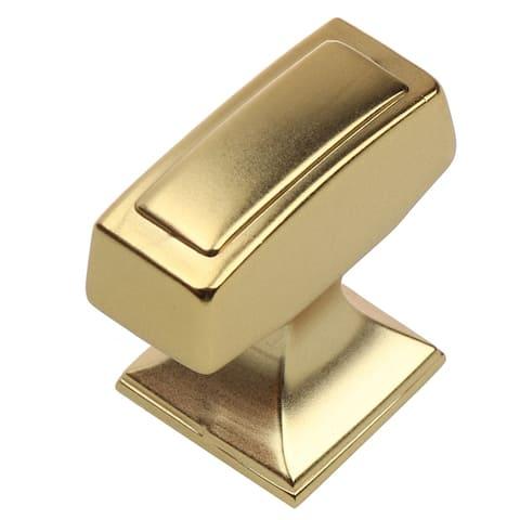 GlideRite 10-Pk 1-1/8 x 1/2 in. Brass Gold Transitional Cabinet Knobs - Brass Gold