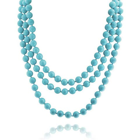 Blue Endless Layering Long Strand Boho Fashion Compressed Turquoise Beads Necklace For Women For Teen 69 Inch