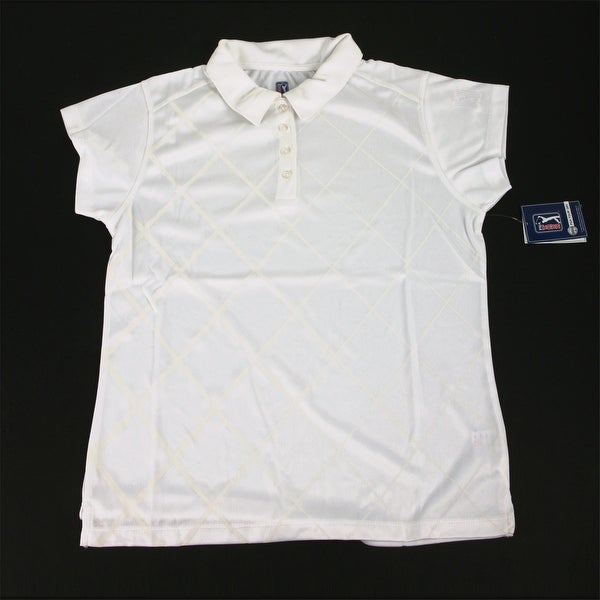 PGA TOUR Women's Polo Shirt - White Checkered - Medium