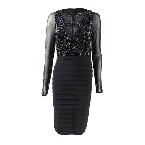 Xscape Women\'s Long-Sleeve Beaded Illusion Sheath Dress - Black - 4 ...