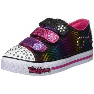 Skechers Girls' Twinkle Toes Step Up Sparkle Spice Sneaker,Black/Hot Pink