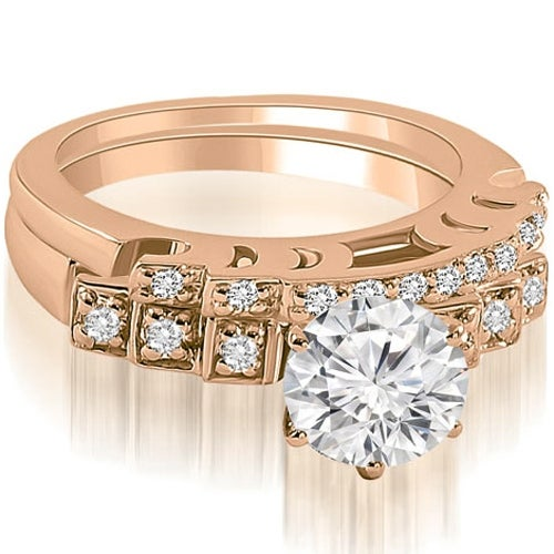 0.75 cttw. 14K Rose Gold Vintage Round Cut Diamond Bridal Set