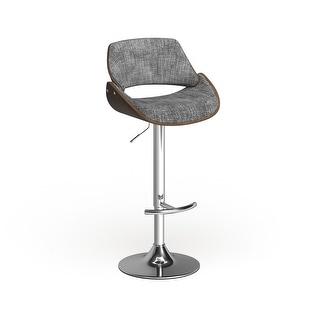 Link to Carson Carrington Svellingen Mid-century Modern Walnut Wood and Fabric Adjustable Swivel Bar Stool Similar Items in Dining Room & Bar Furniture