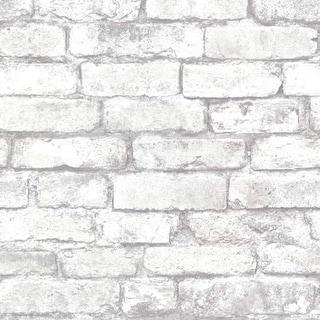 Brewster 2604-21261 Brickwork Light Grey Exposed Brick Texture Wallpaper