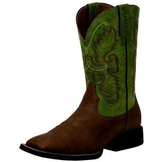 Justin Western Boots Mens Synthetic Leather Sq Toe Brown Green JB1117