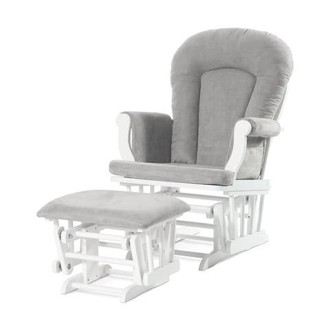 Forever Eclectic Cozy Glider Rocker and Ottoman