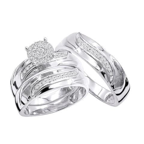 Luxurman 10K Gold Affordable Diamond Engagement Ring Wedding Band Trio Set 0.2ct