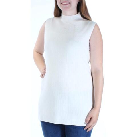CALVIN KLEIN $80 Womens New 1241 Ivory Sleeveless Turtle Neck Vest Sweater S B+B