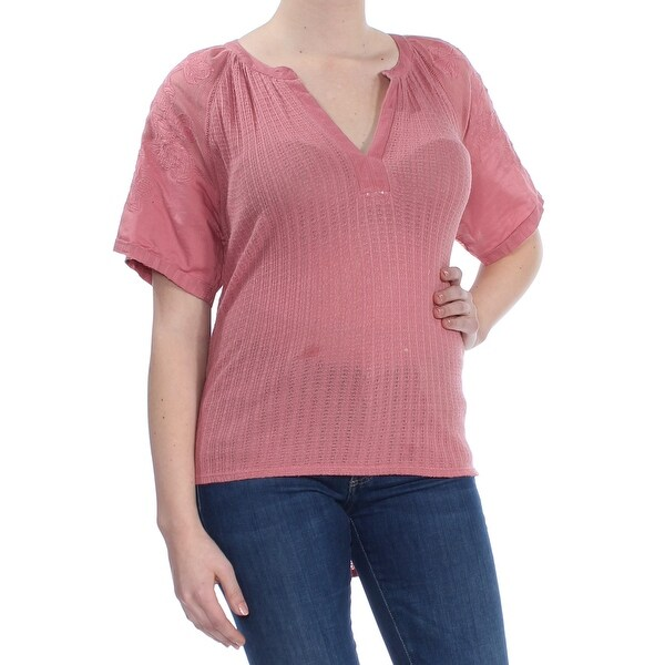 LUCKY BRAND Womens Red Embroidered Short Sleeve V Neck Top Size: M