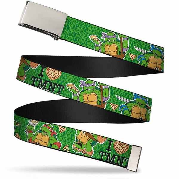 "Blank Chrome Buckle I ""Heart"" Tmnt Classic Turtles & Pizza Green Web Belt"
