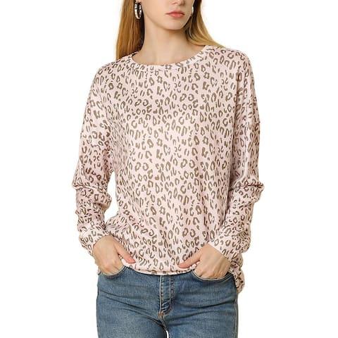 Allegra K Women Casual Leopard Print Drop Shoulder Boat Neck Knit Top L - Pink