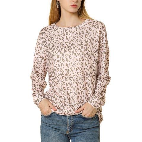 Allegra K Women Casual Leopard Print Drop Shoulder Boat Neck Knit Top XL - Pink