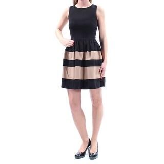 BAR III $79 Womens New 2208 Brown Black Color Block Fit + Flare Dress XS B+B