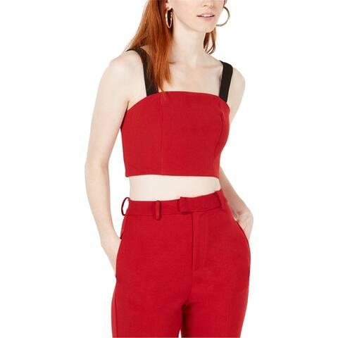 Line & Dot Womens 2-Tone Crop Top Blouse