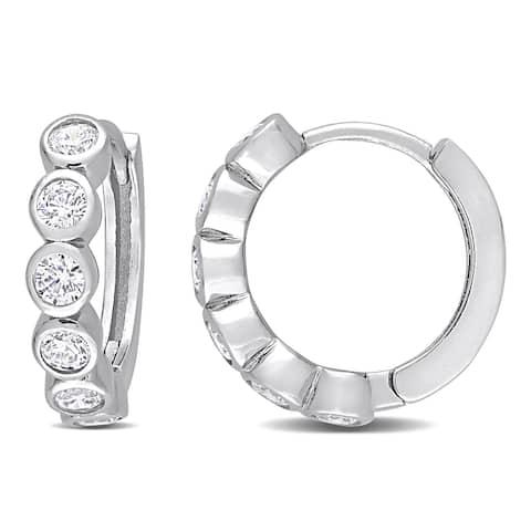 Miadora Cubic Zirconia Hoop Earrings in Sterling Silver