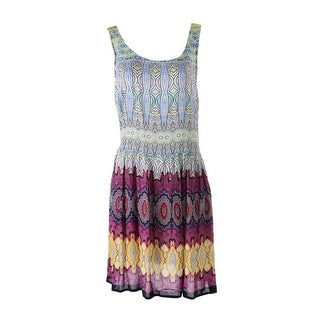 Aqua Womens Printed Sleeveless Sundress - L