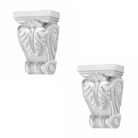 2 Victorian Wall Fireplace Corbel White Urethane Vintage Set of 2