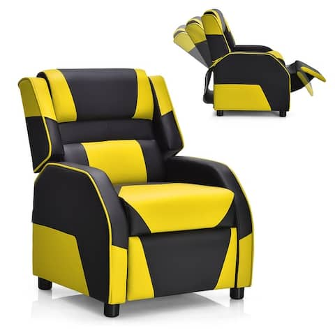 Costway Kids Youth Gaming Sofa Recliner w/Headrest & Footrest PU