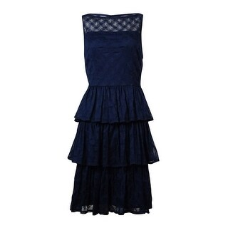 London Times Women's Sleeveless Eyelet Lace Tiered Dress - 10
