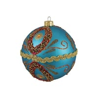 "Flower Power Matte Blue Beaded Shatterproof Christmas Ball Ornament 4"" 100mm"