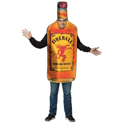 Adult Fireball Whiskey Bottle Halloween Costume - Standard - One Size