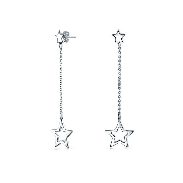 Bling Jewelry Patriotic Open Star Dangle Earrings 925 Sterling Silver