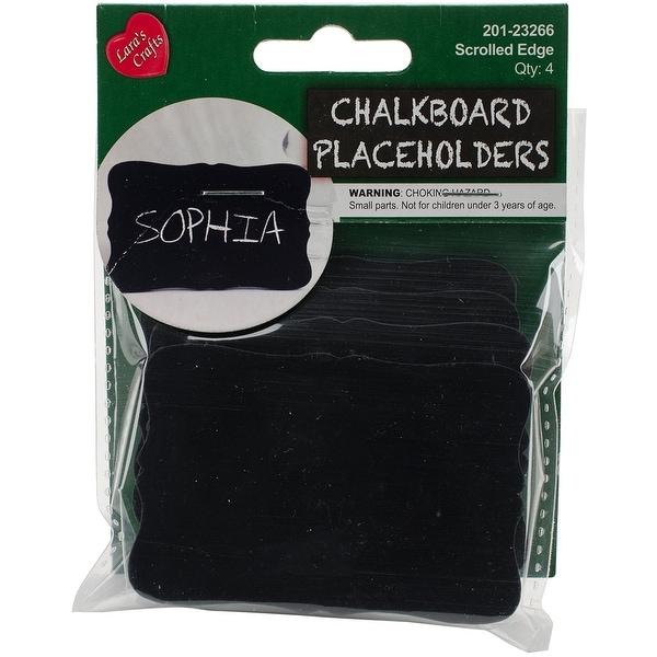 "Chalkboard Placeholders 3""X2"" 4/Pkg-Scrolled Edge"