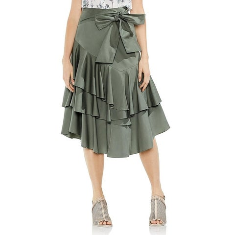 Vince Camuto Womens A-Line Skirt Ruffled Below Knee