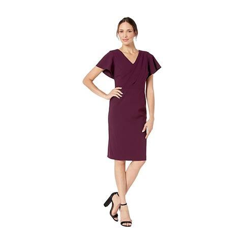 RALPH LAUREN Purple Short Sleeve Above The Knee Sheath Dress Size 16