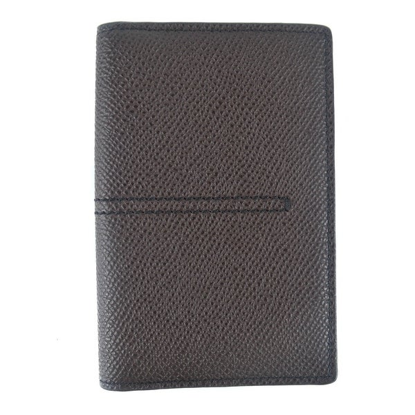 Tods Mens Brown Grained Leather Center Stitched Vertical Card Holder