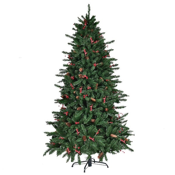 Artificial Christmas Tree With Pine Cones: Shop Gymax 6' Artificial PVC Christmas Tree Red Berries