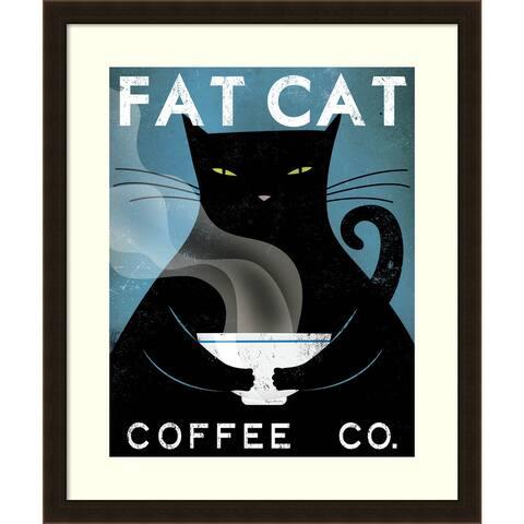 Framed Art Print 'Cat Coffee (no city)' by Ryan Fowler 23 x 28-inch