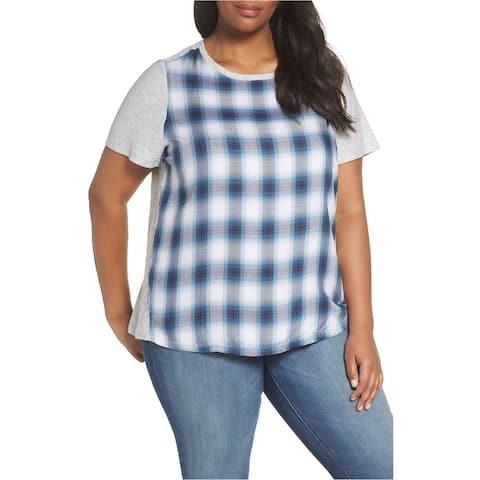 Vince Camuto Womens Plaid Basic T-Shirt