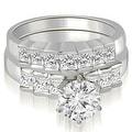 2.10 cttw. 14K White Gold Princess and Round Cut Diamond Bridal Set - Thumbnail 0