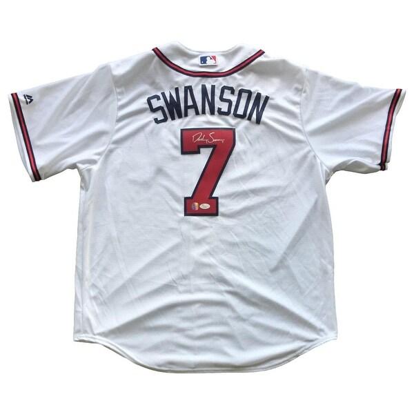 77ccc066ec2 italy dansby swanson signed atlanta braves majestic cool base baseball  jersey jsa 36933 6025f