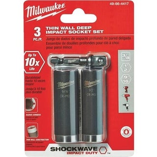 Milwaukee Accessory 3Pc Impact Socket Set 49-66-4417 Unit: EACH
