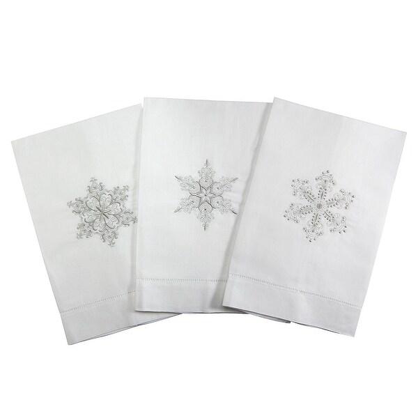 Silver Snowflake Embroidered Tea Towel Set of 3