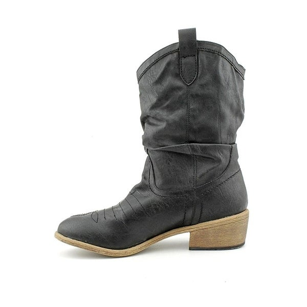 Womens Coyote Almond Toe Mid-Calf Cowboy Boots