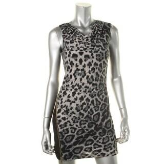 Ark & Co. Womens matte Jersey Leopard Print Party Dress - M