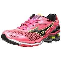 Mizuno Women's Wave Creation 18 Running Shoe, Pink-Black-Safety Yellow, 8 US