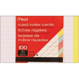 "Ruled Assorted Colors - Index Cards 3""X5"" 100/Pkg"