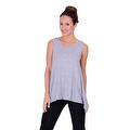 Simply Ravishing Women's Solid Round Neck Sleeveless High Low Asymmetrical Hem Tunic Top - Thumbnail 4
