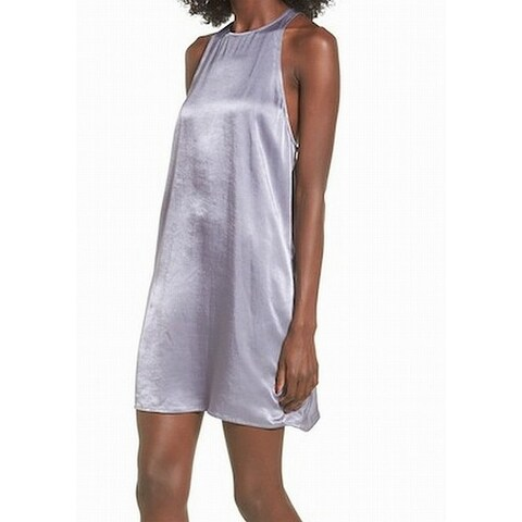 Leith Gray Granite Womens Size Medium M Halter Satin Shift Dress