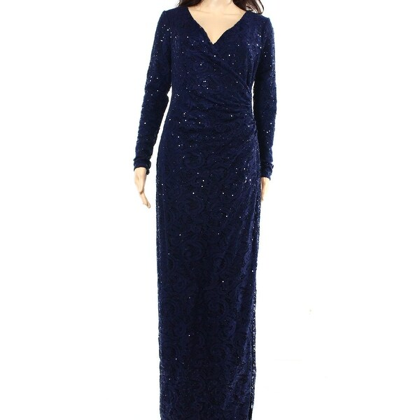 Shop Lauren Ralph Lauren NEW Blue Womens Size 4 Sequined Lace Maxi ...