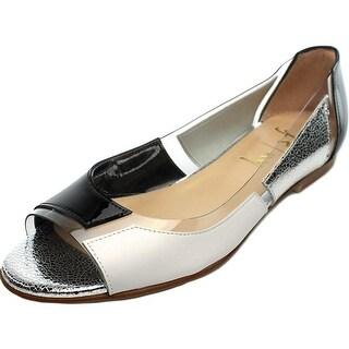FS/NY Nisim Women Peep-Toe Patent Leather Multi Color Flats
