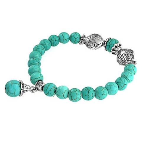 Bali Style Enhanced Turquoise Buddha Charm Bead Stretch Bracelet For Women Yogi Silver Plated Alloy