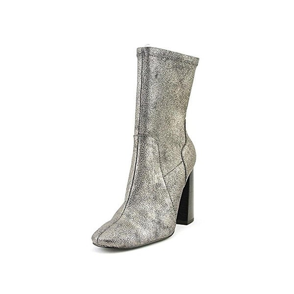 Design Lab Womens Maala Sock Boot Metallic Mid Calf