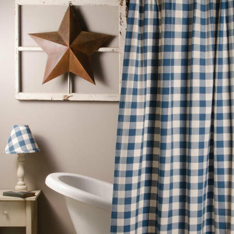 "Cotton Shower Curtain Buffalo Check Blue and Buttermilk 72"" x 72"""