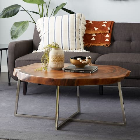 Venus William Collection Brown Stainless Steel Coffee Table 47 x 21 - 47 x 33 x 21